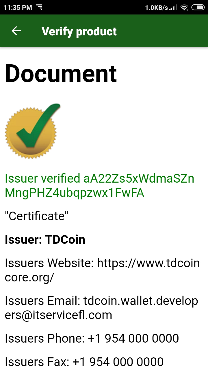 TDCoin wallet Verify function screenshot